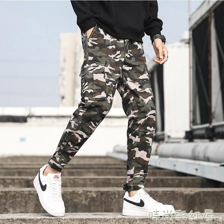 秋季新款復古時尚多口袋工裝褲小腳束腳沙漠迷彩褲男士休閒褲