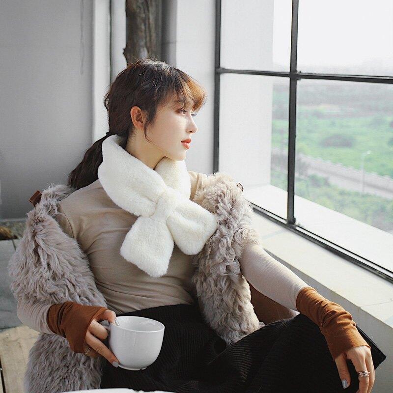 秋冬交叉加厚保暖毛毛圍脖女冬天毛絨絨脖套冬季百搭韓版時尚休閑1入