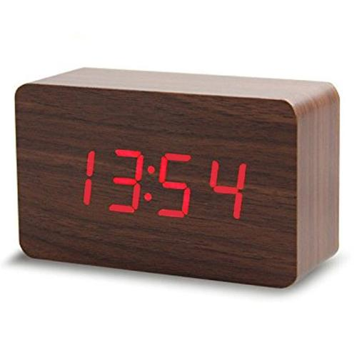 LED木製時尚長方型鬧鐘TW-67866786【愛買】