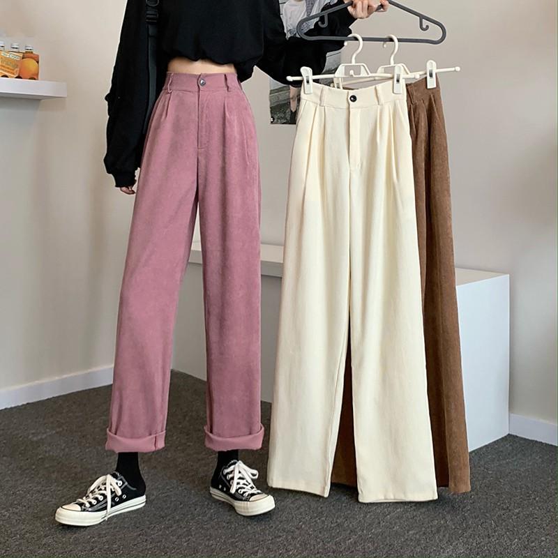 秋季韓版新款高腰顯瘦垂感燈芯絨闊腿褲休閑褲