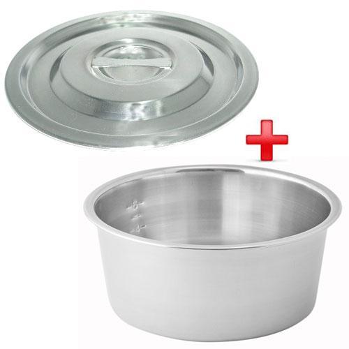 【1+1超值組】金優豆304極厚不鏽鋼鍋蓋(20cm)+316不鏽鋼極厚內鍋(8人份)【愛買】
