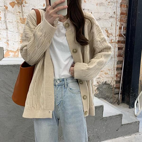 毛衣女秋冬寬鬆外穿日系溫柔慵懶風復古港味加厚麻花針織開衫外套