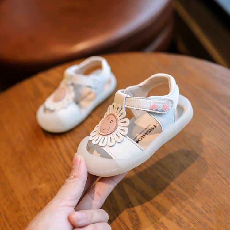 小寶寶嬰兒學步鞋軟底防滑0-1-3一歲2女童公主鞋幼童包頭涼鞋夏季 【快速出貨】