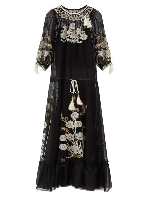 REDValentino - Floral-embroidered Gauze Maxi Dress - Womens - Black