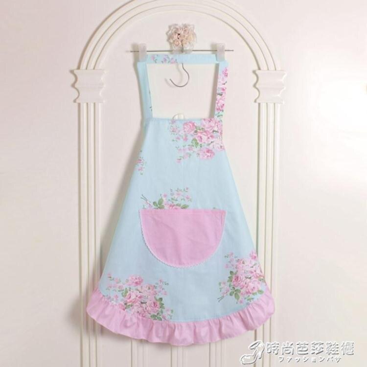 特價 韓版時尚圍裙純棉可愛粉公主花邊成人廚房無袖家居圍裙 時尚芭莎