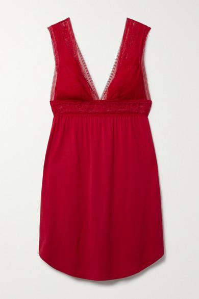 Eberjey - Raquel 弹力蕾丝弹力莫代尔平纹布睡裙 - 红色 - small