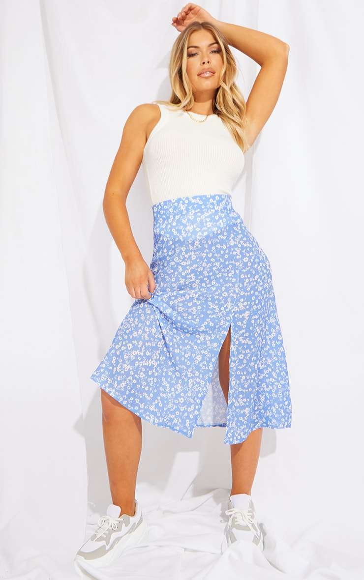 Blue Floral Floaty Midi Skirt