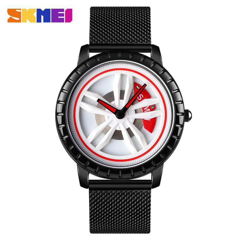 時刻美 Skmei 男士手錶 豪華車輪旋轉錶盤 創意手錶 防水石英 男子手錶 不銹鋼錶帶 1634