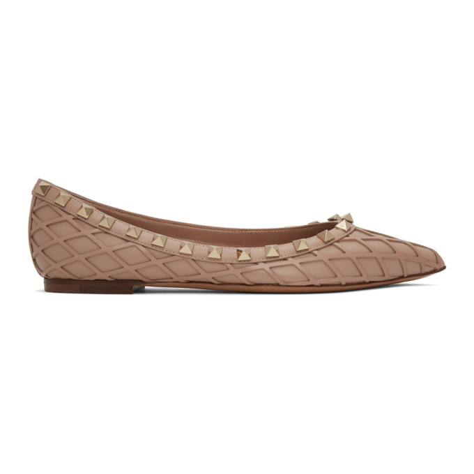 Valentino 粉色 Valentino Garavani Rockstud 网格芭蕾鞋