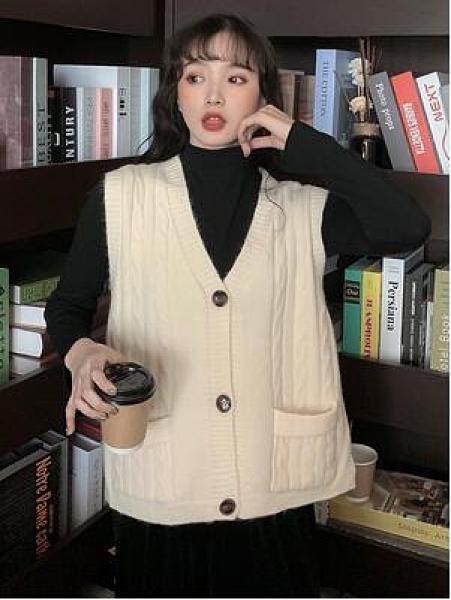 冬新款針織馬甲女背心外搭韓版百搭寬鬆外穿毛衣馬夾外套