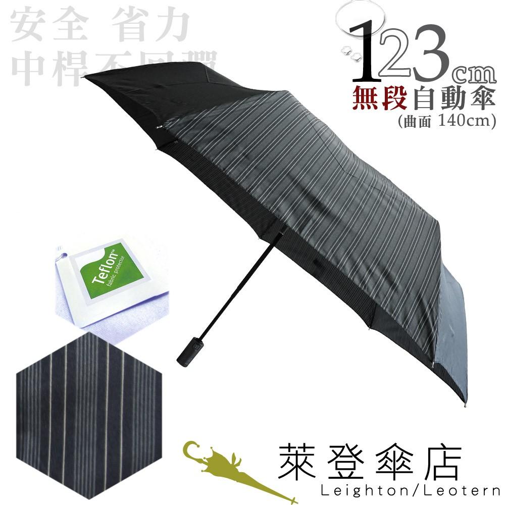 【萊登傘】雨傘 印花鐵氟龍 不回彈 123cm超大無段自動傘 易甩乾 防風抗斷 灰條紋