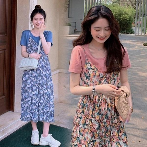 漂亮小媽咪 韓系 碎花小洋裝 【DS9357】 兩件式 吊帶裙 長裙 雪紡 長洋裝 孕婦裝 洋裝 連身裙