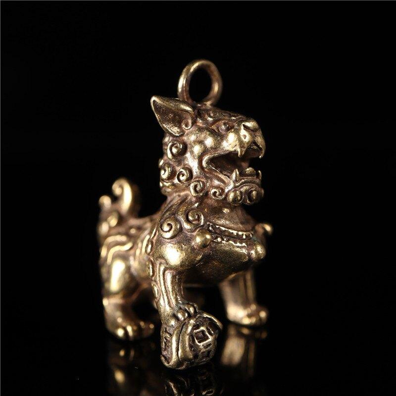 特色古玩銅器銅獅印章對章古法銅鑄造招財銅獅子印章車掛包掛1入