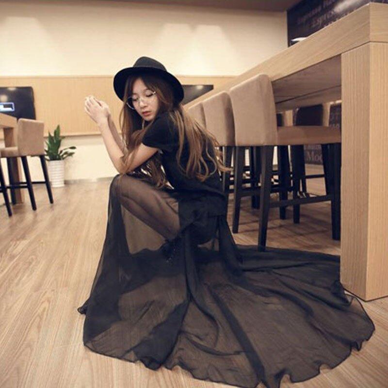 雪紡半身裙夏女夏新款長裙ins時尚黑紗裙飄逸顯瘦超仙大擺遮肉裙1入