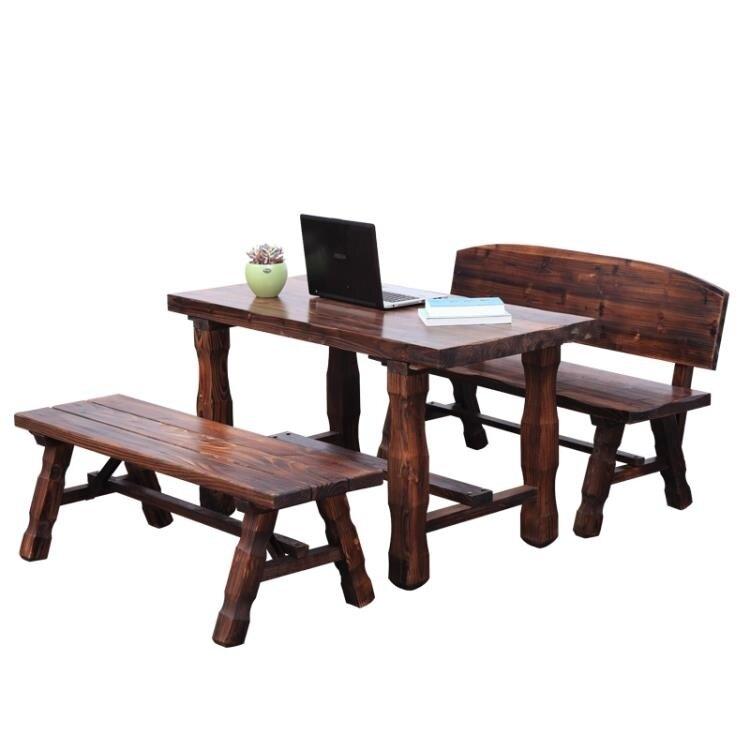 戶外桌椅 組合三件套實木休閑陽台庭院室外露台碳化防腐木桌子套裝CY
