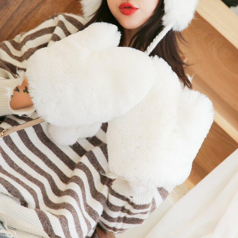 冬天仿兔毛毛手套短款手套女加厚保暖時尚百搭學生冬季可愛日系潮1入