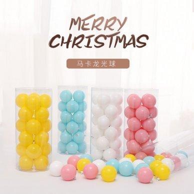 聖誕節彩繪馬卡龍色聖誕球亮光球6cm8cm24個套餐挂件聖誕樹裝飾球