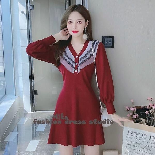 依Baby 秋冬法式復古赫本風領針織洋裝修身顯瘦氣質字裙子