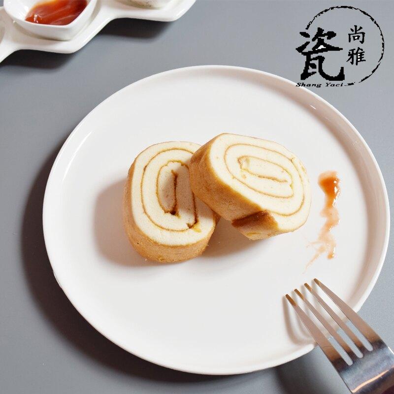 純白陶瓷披薩盤華夫餅烤盤烘焙西餐盤子蛋糕盤意面飯盤牛排盤碟子1入