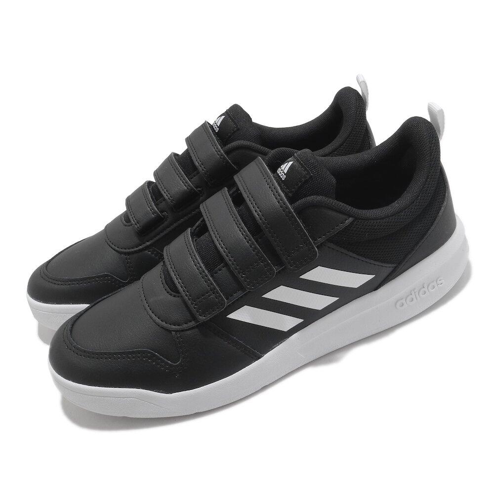 ADIDAS 慢跑鞋 Tensaurus C 運動休閒 女鞋 童鞋 愛迪達 皮革鞋面 魔鬼氈 中大童 黑 白 [EF1092]