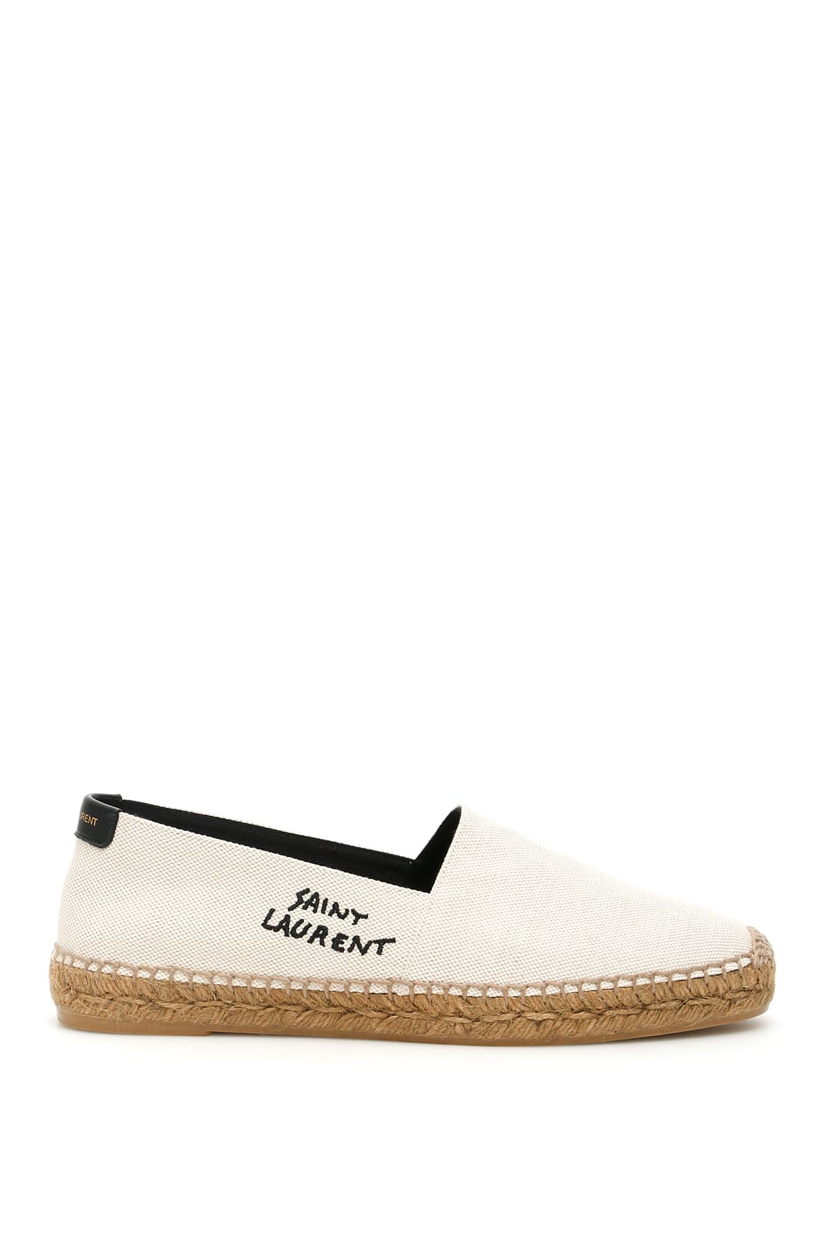 SAINT LAURENT SIGNATURE CANVAS ESPADRILLES 41 White, Beige Cotton, Linen
