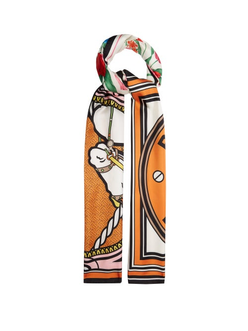 Burberry - Floral And Unicorn-print Silk Scarf - Womens - Orange Multi