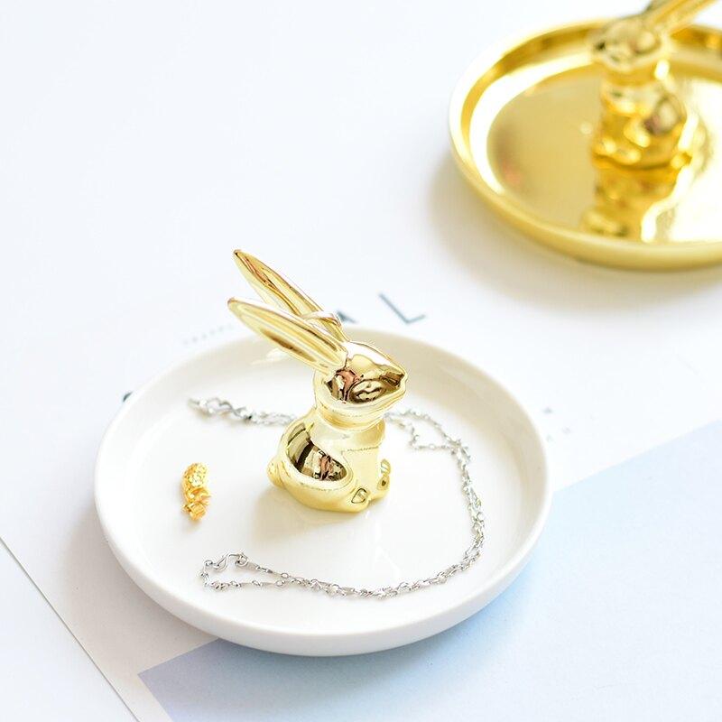 出口歐美奢華金色陶瓷兔子首飾收納盤桌面衛浴戒指托首飾架1入