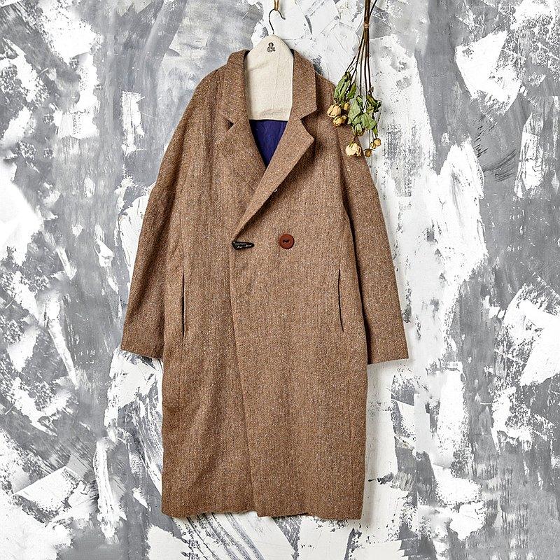 RE_山坡上斜開襟牛角花紗西裝大衣