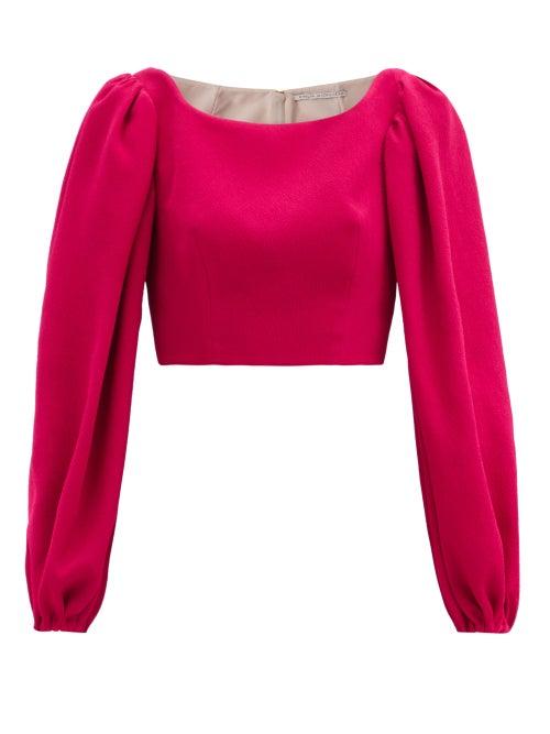 Emilia Wickstead - Velina Balloon-sleeve Crepe Cropped Top - Womens - Pink