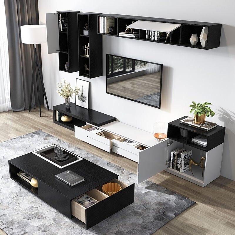 北歐現代簡約客廳新款電視柜茶幾組合多功能儲物升降烤漆伸縮地柜pd