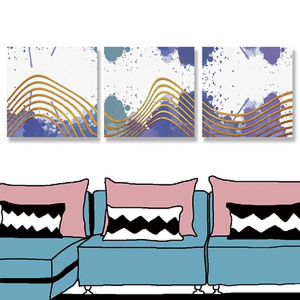 【24mama掛畫】三聯式 油畫布 無框畫 30x30cm-彩色斑點油畫布無時鐘彩色斑點0