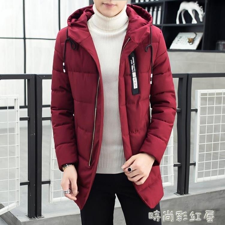 冬季新款棉衣男士修身中長款襖子青年加厚冬裝潮流羽絨棉服外套男