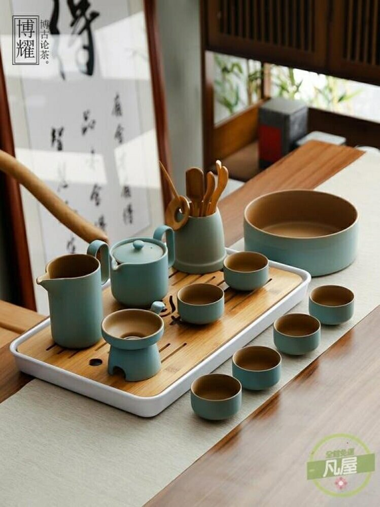 茶具套裝 日式粗陶功夫茶具套裝辦公家用簡約陶瓷茶壺茶杯整套泡茶器-快速出貨