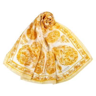 LANVIN 森林花鳥大絲巾-黃白色