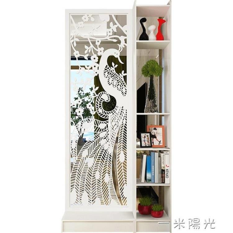 原創現代簡約孔雀雙面間廳玄關櫃隔斷置物架屏風裝飾櫃隔斷櫃yh