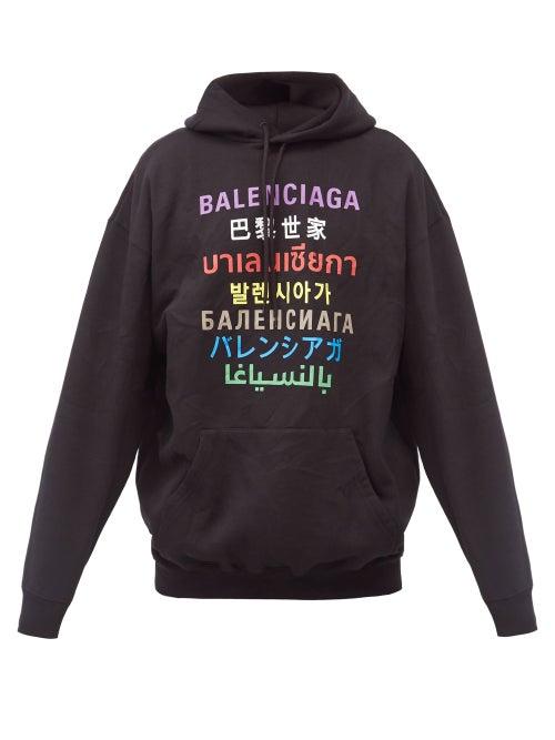 Balenciaga - Language-print Cotton-jersey Hooded Sweatshirt - Mens - Black Multi