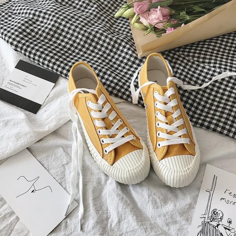 夏季新品街拍韓國原宿經典復古百搭小白鞋帆布鞋女潮 【快速出貨】
