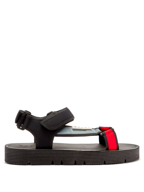 Marni - Velcro-strap Cotton-blend Neoprene Sandals - Mens - Black Multi