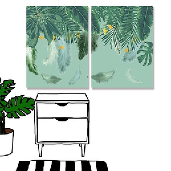 【24mama 掛畫】二聯式 油畫布 無框畫 30x40cm-熱帶樹葉油畫布無時鐘