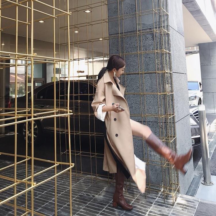 小潘潘側拉鍊復古高筒靴子女2018新款英倫風超顯瘦皮靴【全館免運 限時鉅惠】