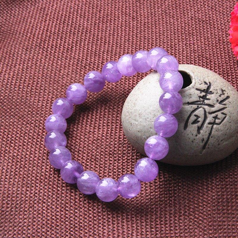 正品天然薰衣紫紫水晶手鏈手串女款時尚紫水晶手鏈紫水晶10MM手鏈1入