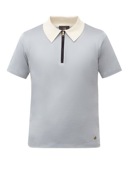 Dunhill - Zip-neck Cotton-jersey Polo Shirt - Mens - Light Blue