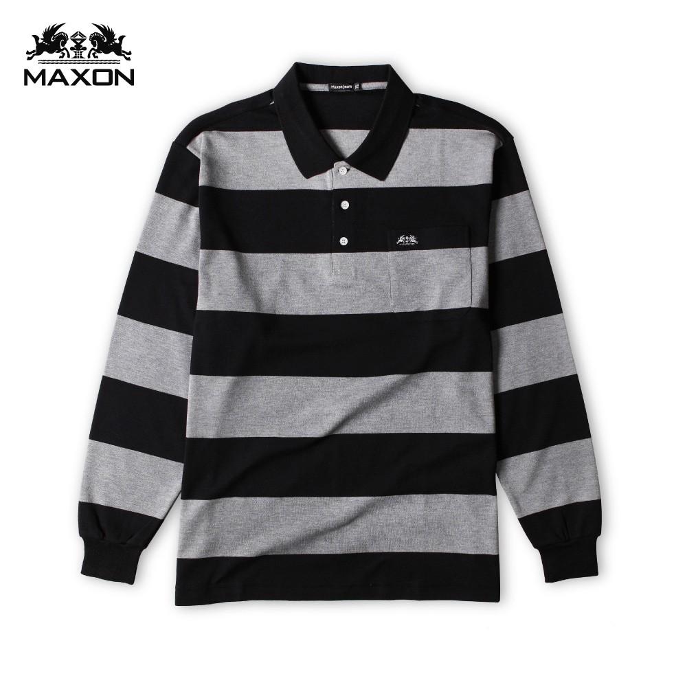 【MAXON】台灣製/大尺碼黑灰條紋棉柔POLO衫XL-4XL 加大尺碼 免運