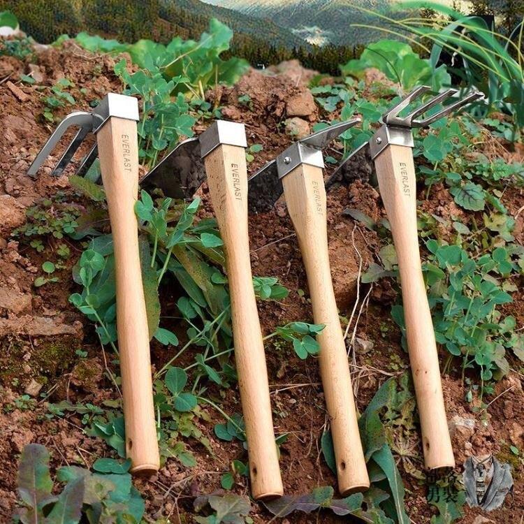 除草工具 不銹鋼兩用木柄鋤頭除草耙子農具種菜種地小鋤頭花鋤農用園藝工具T