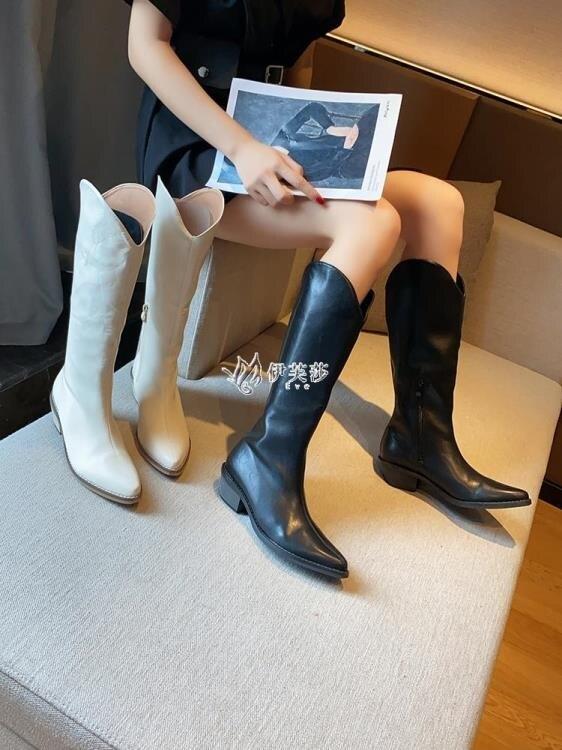 聖誕禮物網紅長靴高筒不過膝靴2020年新款春秋季馬丁靴女尖頭粗跟白色