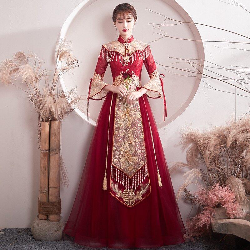 敬酒服新娘結婚新款紅色中式中國風出閣秀禾服晚禮服裙女冬季