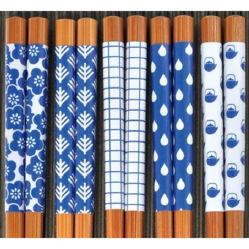 日本進口SUNLIFE炭竹筷組-藍色花紋組(5雙入)