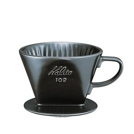 金時代書香咖啡 Kalita 102系列傳統陶製三孔濾杯 時尚黑 #02005