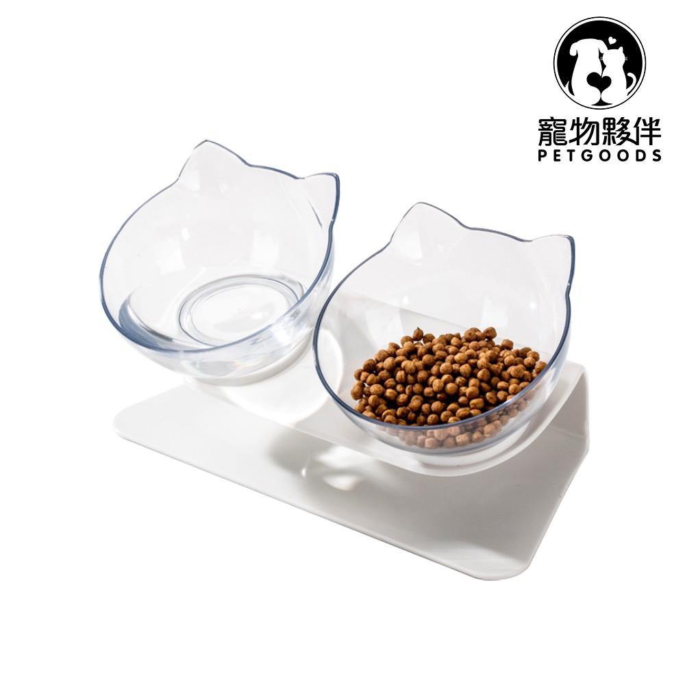 《寵物夥伴》透明飯碗15度傾斜護頸 寵物餐桌 斜面寵物碗 貓咪護頸碗 雙碗 貓咪用品 寵物碗
