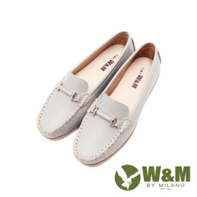 W&M(女)可水洗舒適柔軟D釦莫卡辛鞋 女鞋-淺灰(另有深藍)